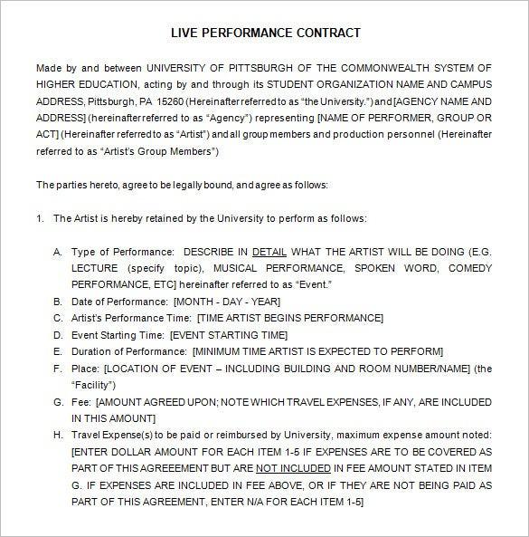 Amazing Band Contract Agreement