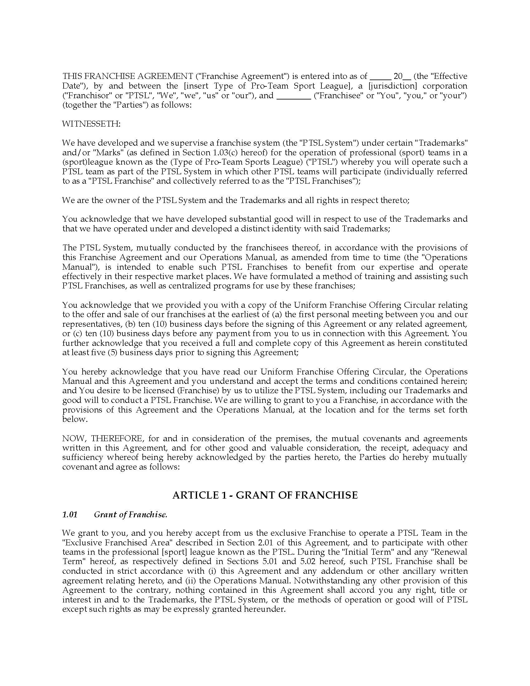 Awesome Training Franchise Agreement Sample