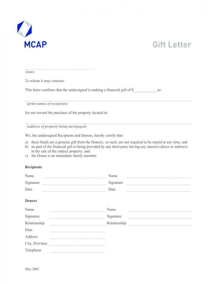Fantastic Mortgage Gift Letter Template
