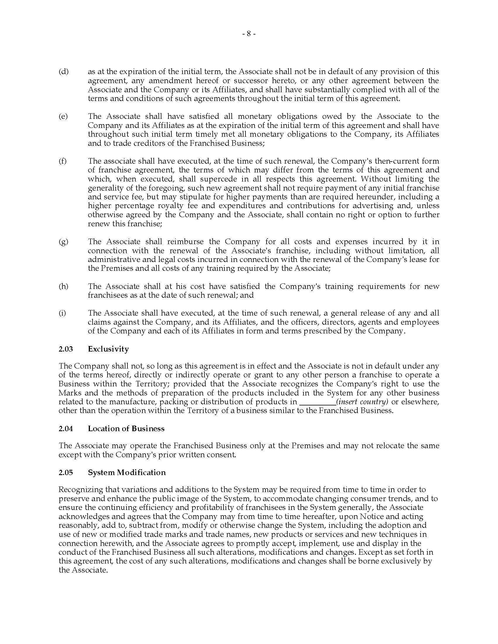 Fantastic Training Franchise Agreement Sample