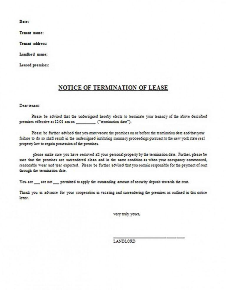 Fascinating 30 Day Notice Lease Termination Letter Template