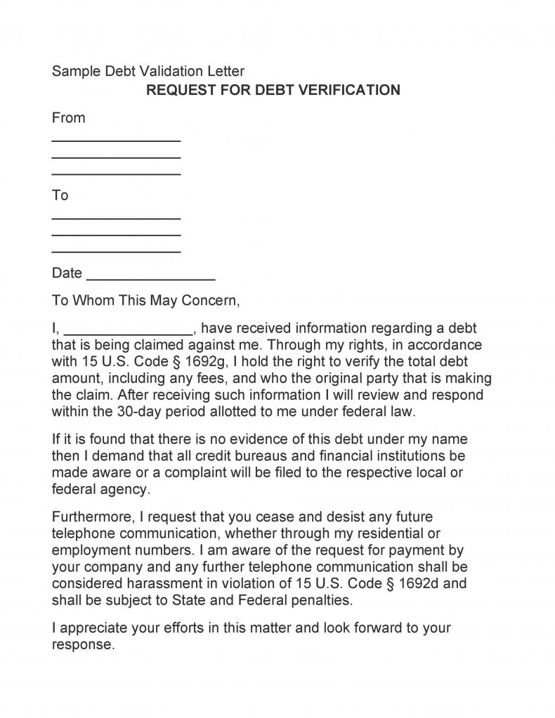 Fascinating Proof Of Debt Letter Template