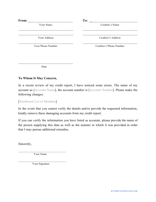 Free Charge Off Dispute Letter Template