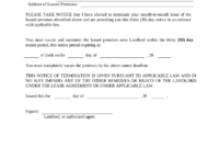 New 30 Day Notice Lease Termination Letter Template