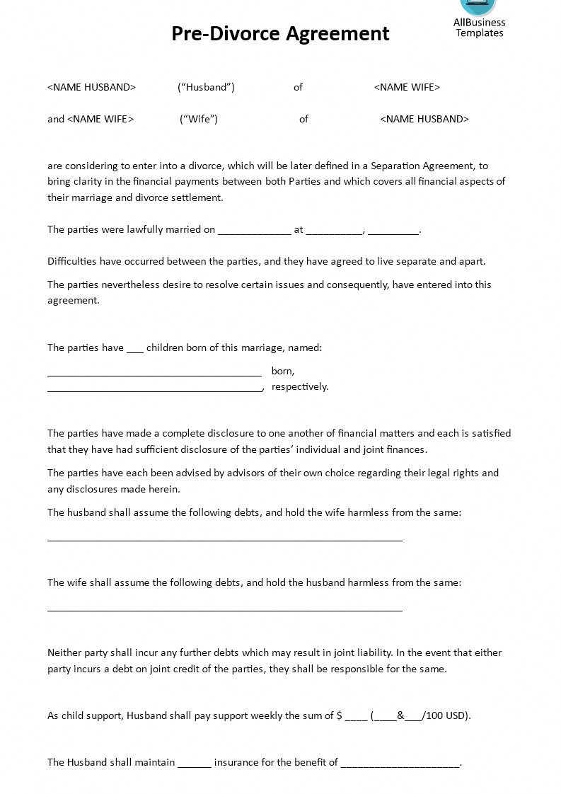 Simple Maryland Separation Agreement Template