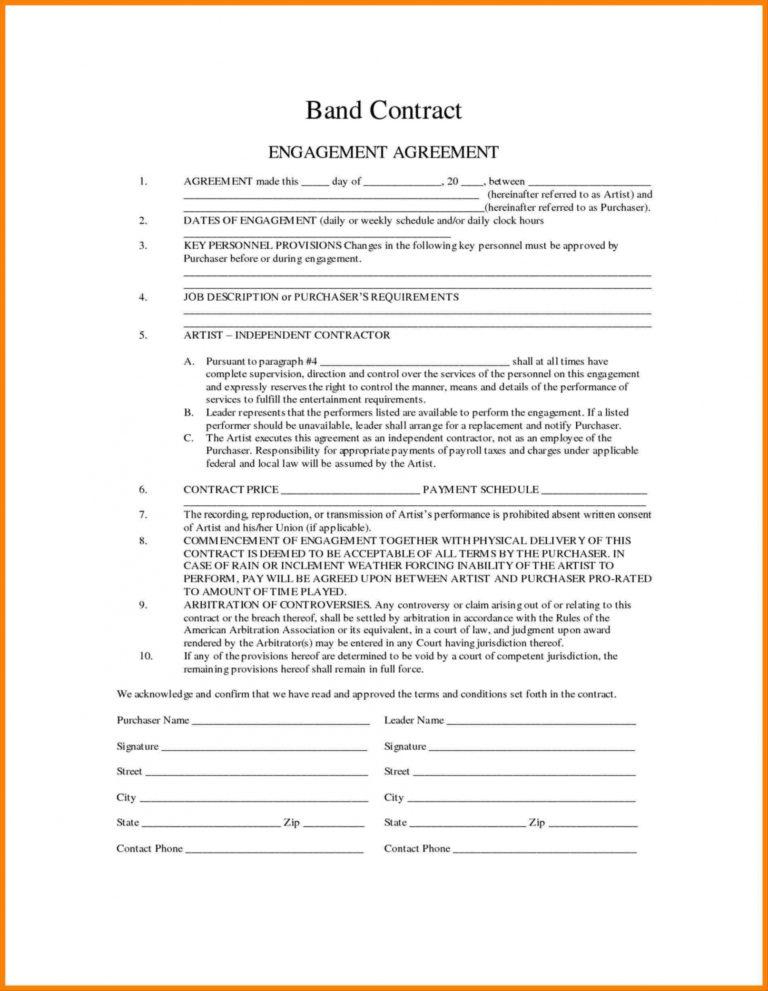 Top Band Contract Agreement