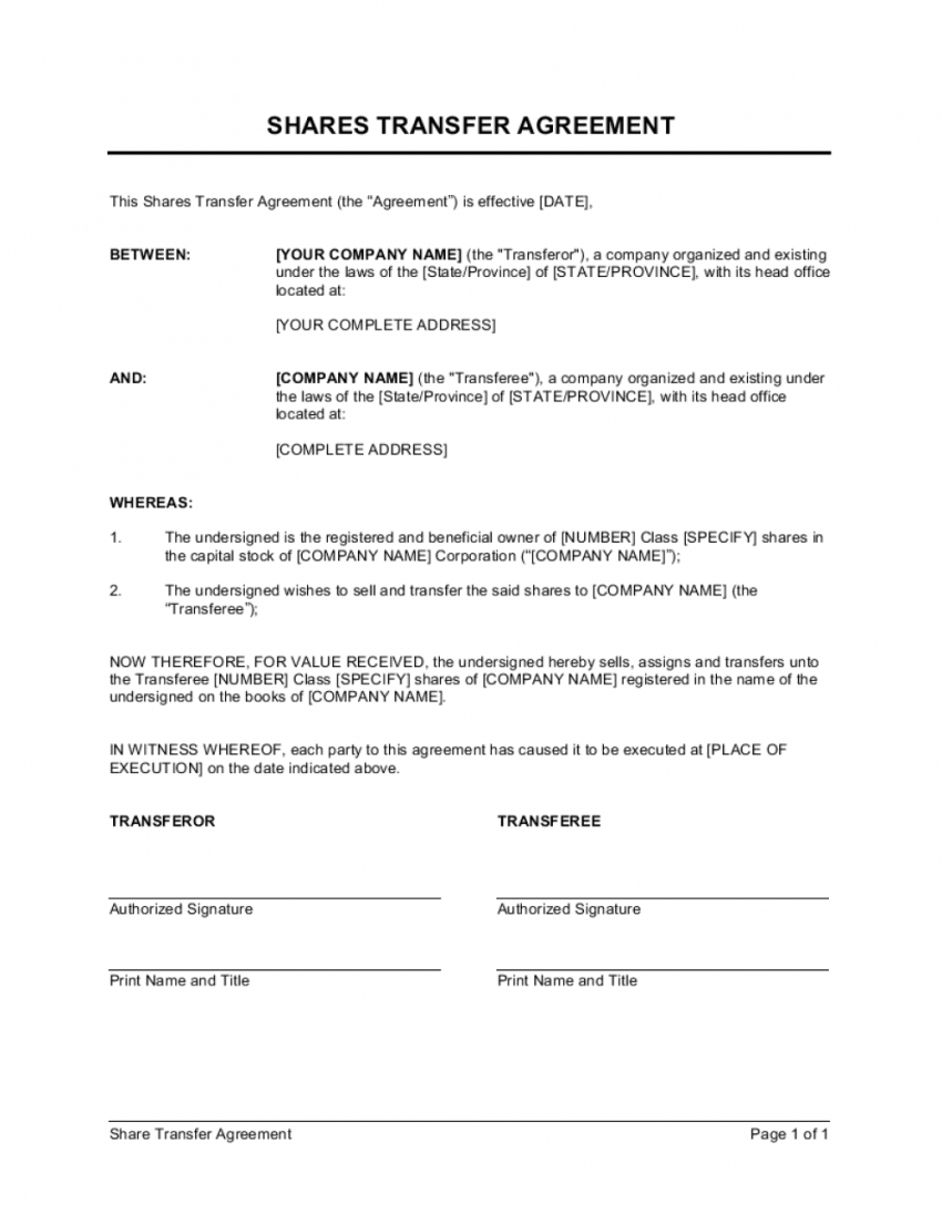 Top Stock Transfer Agreement Template
