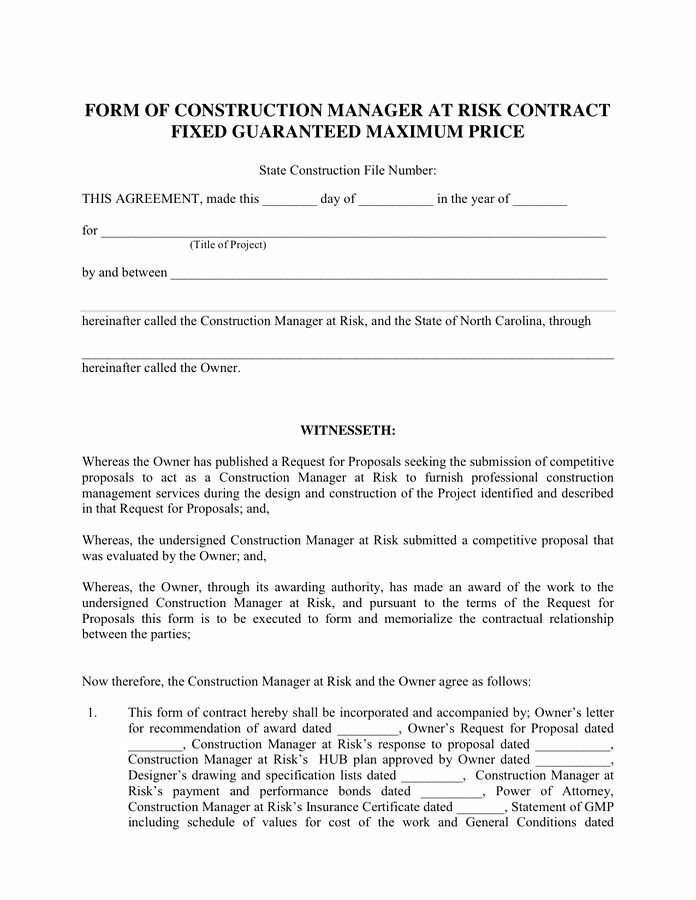 Awesome Building Management Contract Template