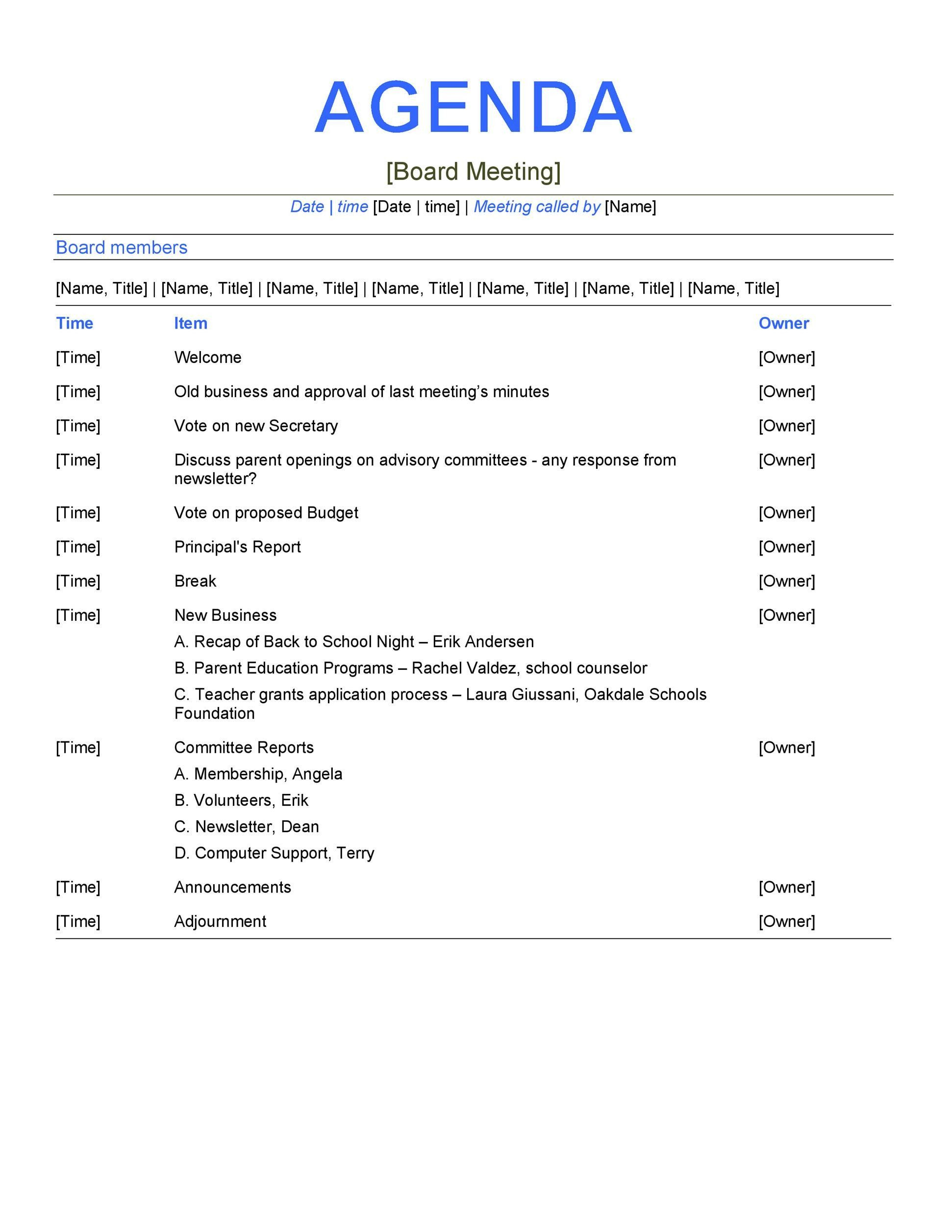 Awesome Manager Meeting Agenda Template