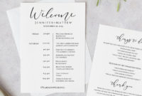 Fascinating Destination Wedding Weekend Itinerary Template