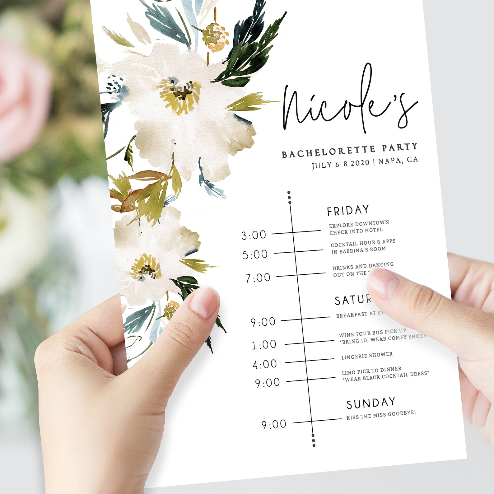 Free Bachelorette Weekend Itinerary Template