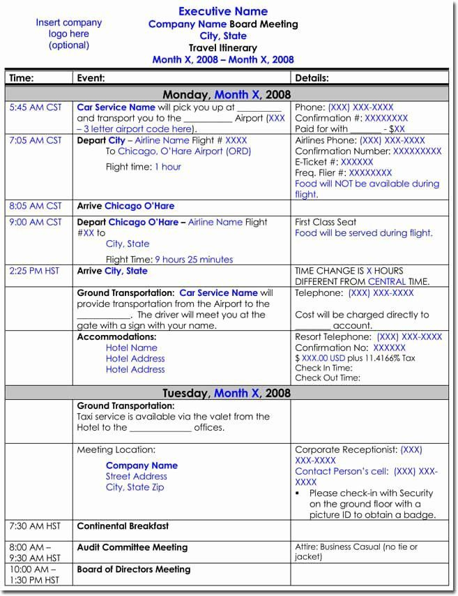 Free Business Trip Itinerary Template