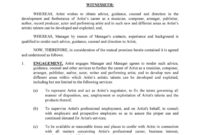 Professional Artist Management Contracts Template