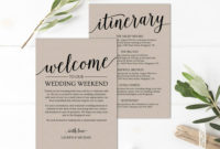 Professional Wedding Welcome Itinerary Template